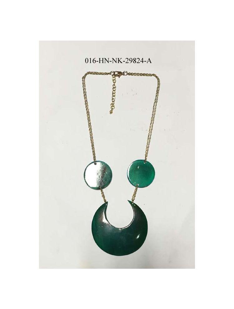 Green Horn & Metal Necklace