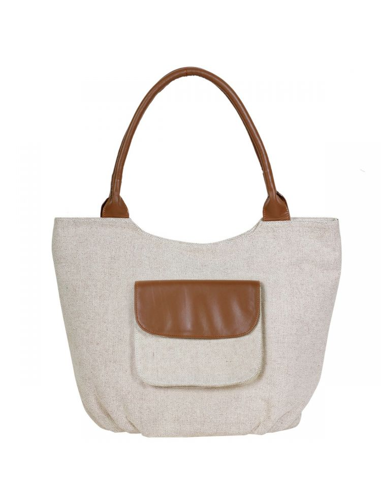 Reggel Beige High Quality Jute Hobo Handbag