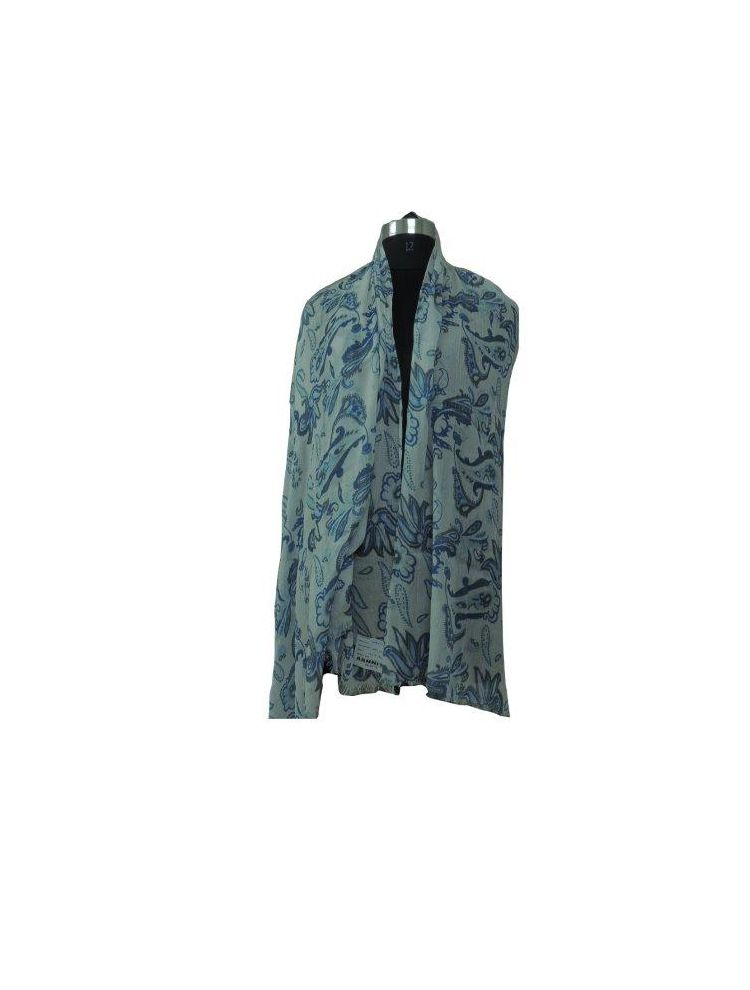 Arnnita Dark Blue Flower Print White Scarf