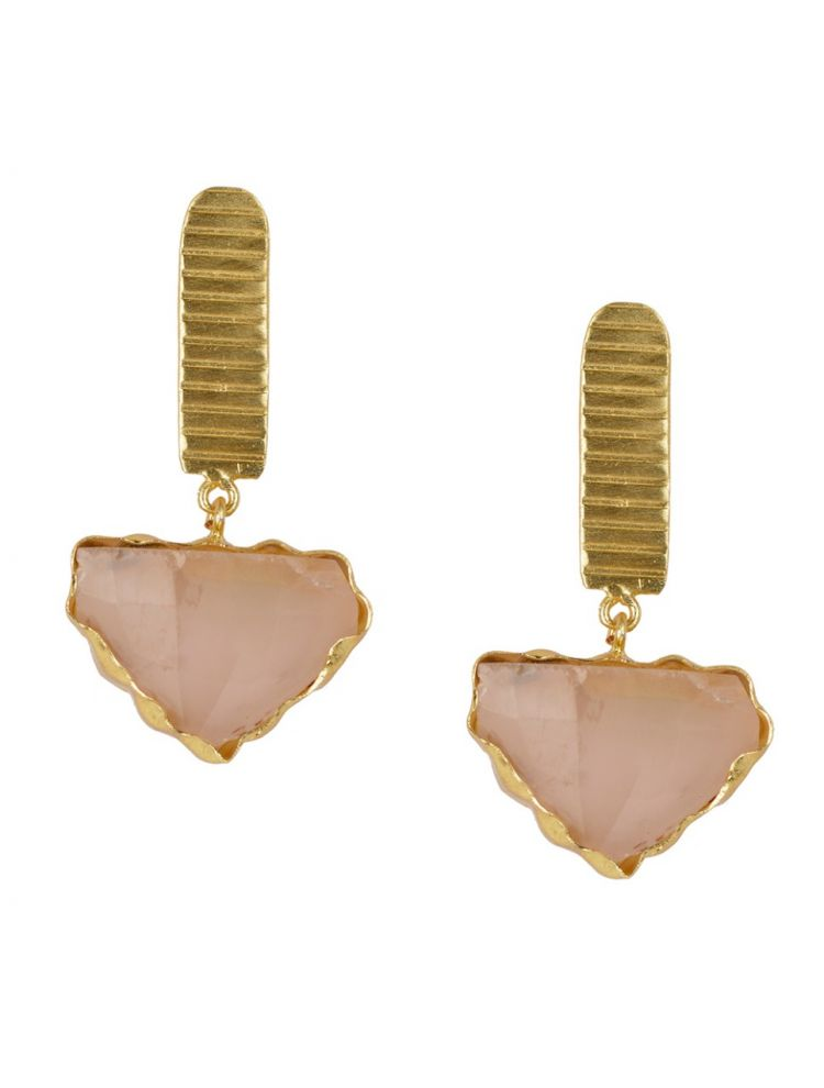 Golden with Rose Quartz Stone Earrings