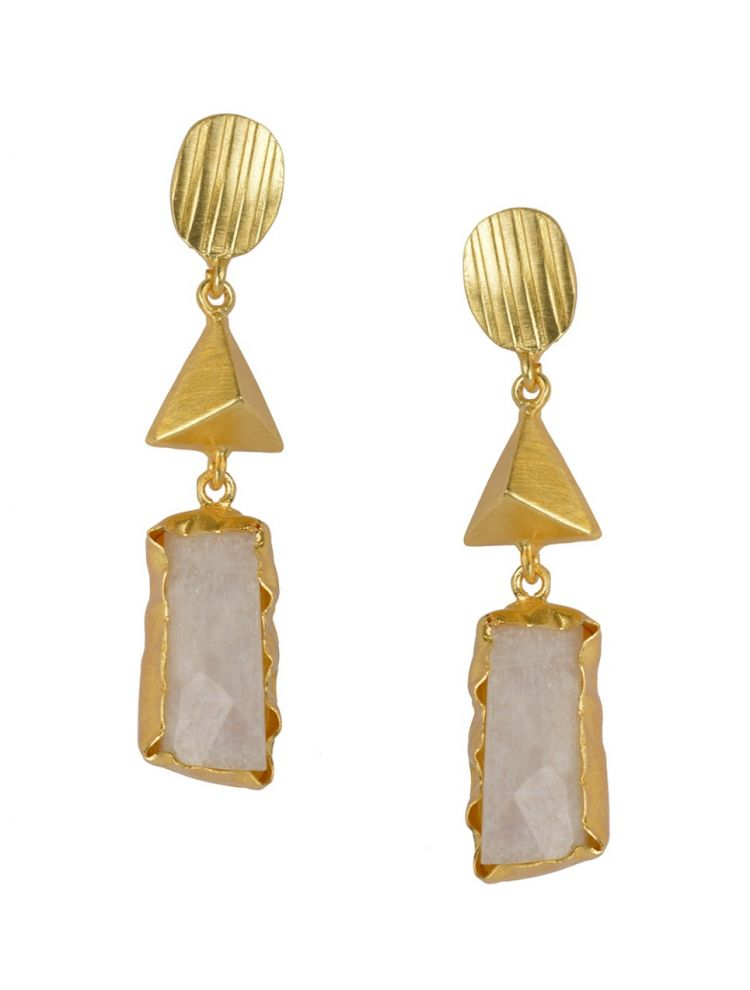Golden with White Moon Stone Earrings