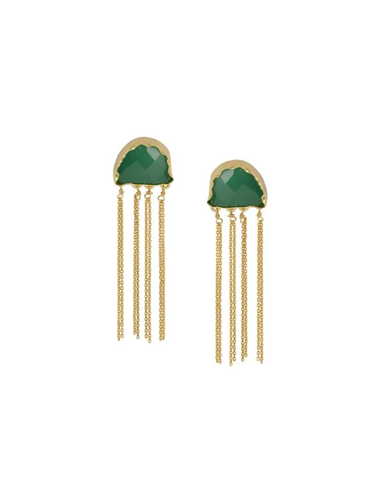 Golden Green Onex Stone Earrings