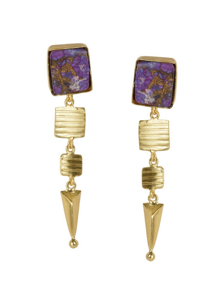 Golden Earrings with Purple Copper Bhatti Stone