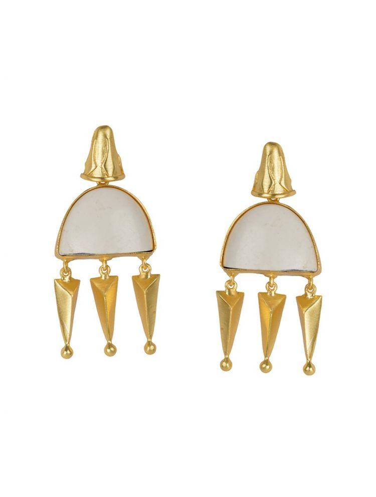 Golden with White Bhatti Stone Earrings