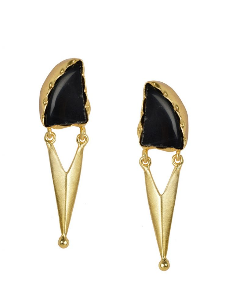 Golden Earrings with Black Onex Stone