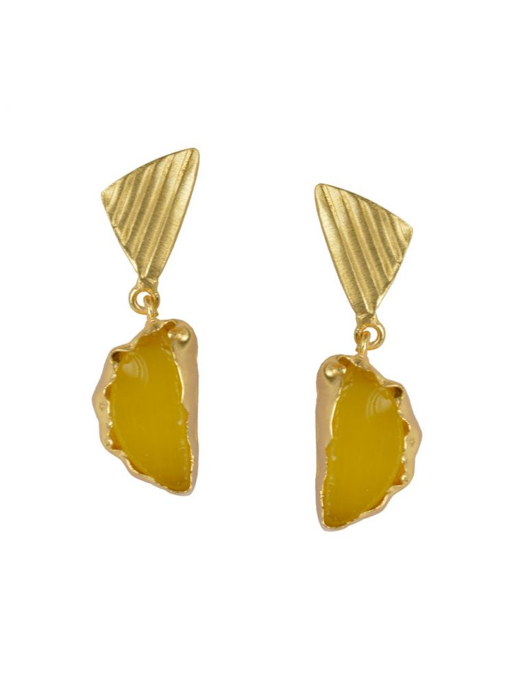 Golden Earrings with Yellow Moon Stone