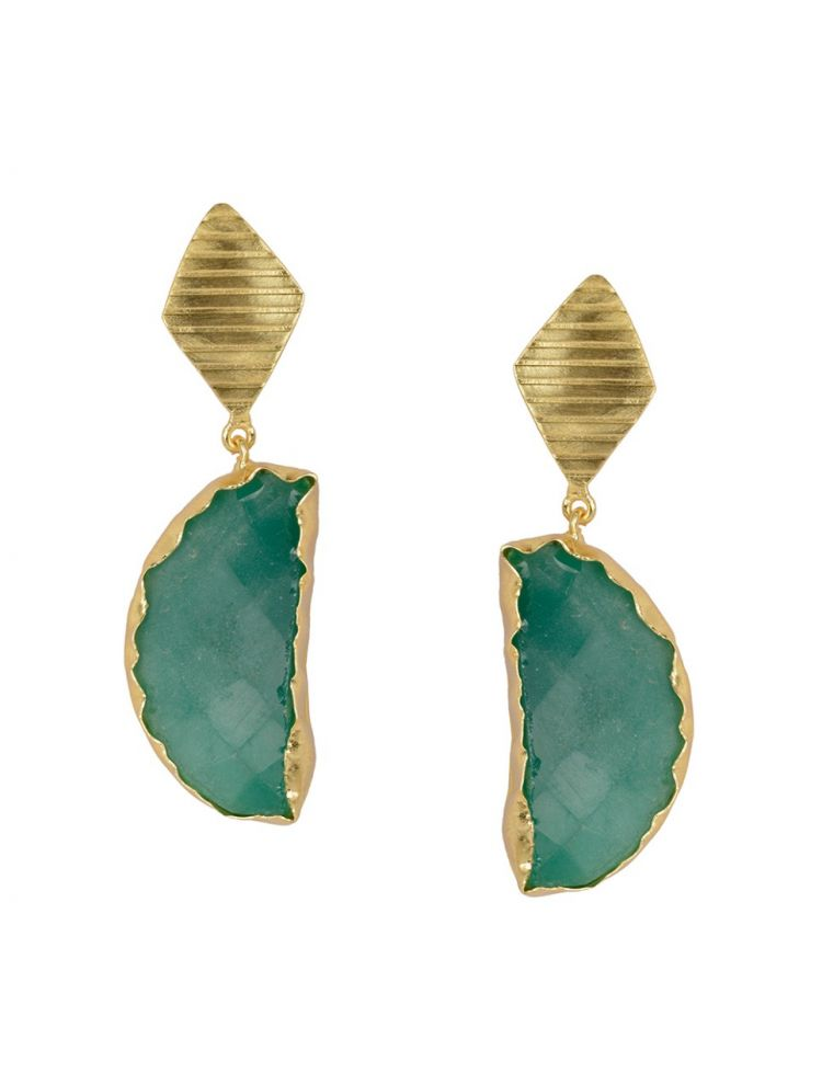 Golden with Green Onex Stone Earrings