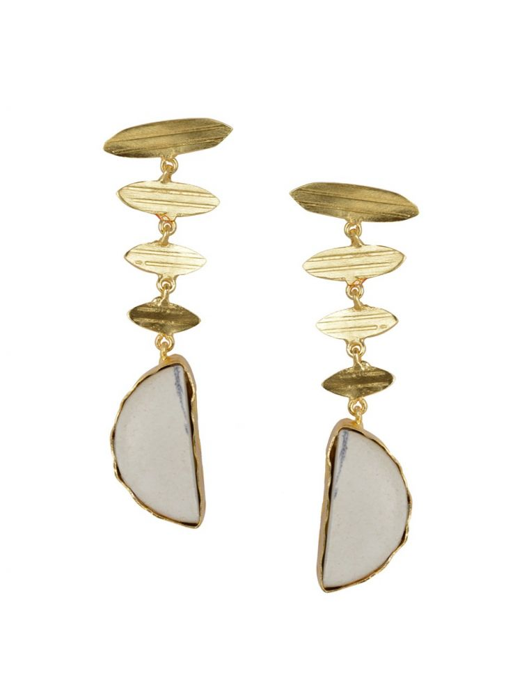 Golden Earrings with White Bhatti Stone
