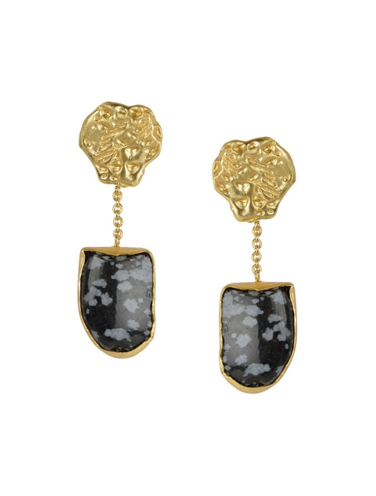 Golden Earrings With Black Agate Stone
