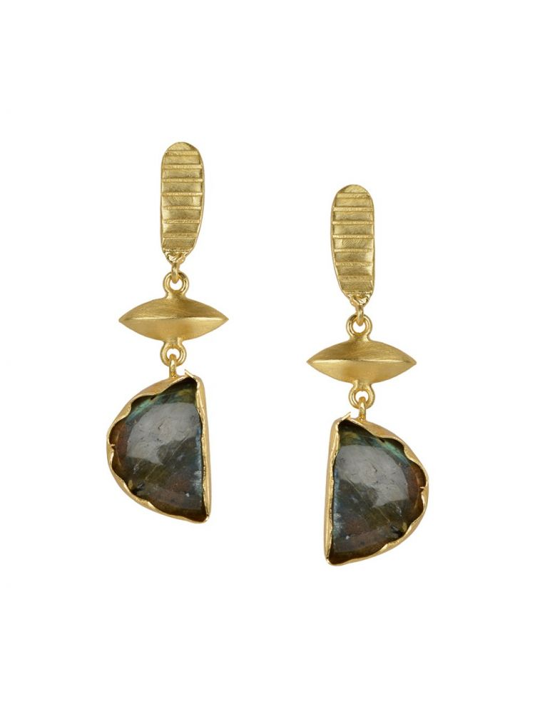 Golden Earrings With Lebrorite Stone