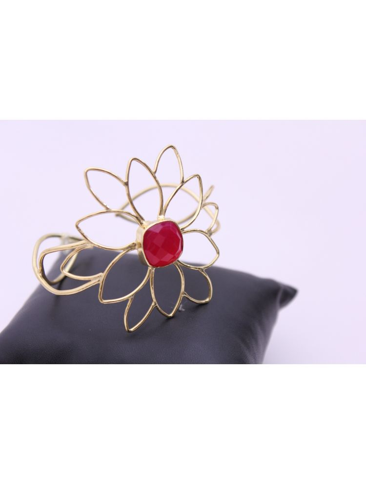 Gold Plated Brass Cuff with Red Stone