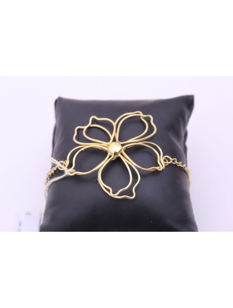 Gold Plated Brass Bracelet With Stone