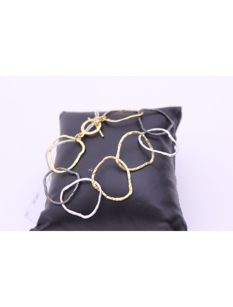 Gold Plated Brass Multi Ring Bracelet