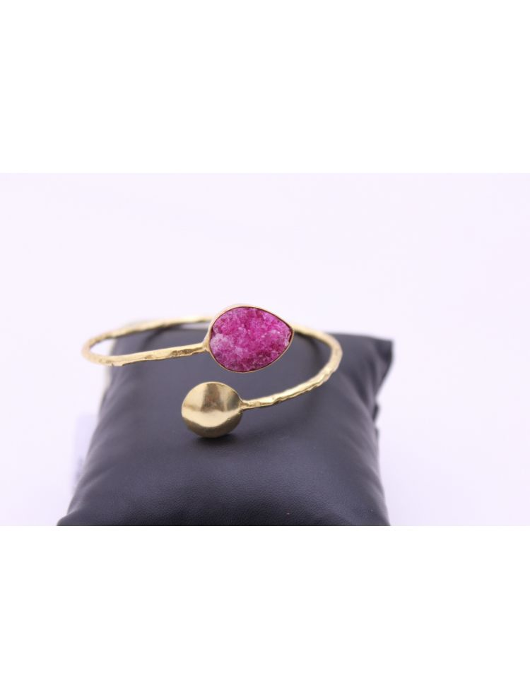 Gold Plated Purple Stone Brass Cuff