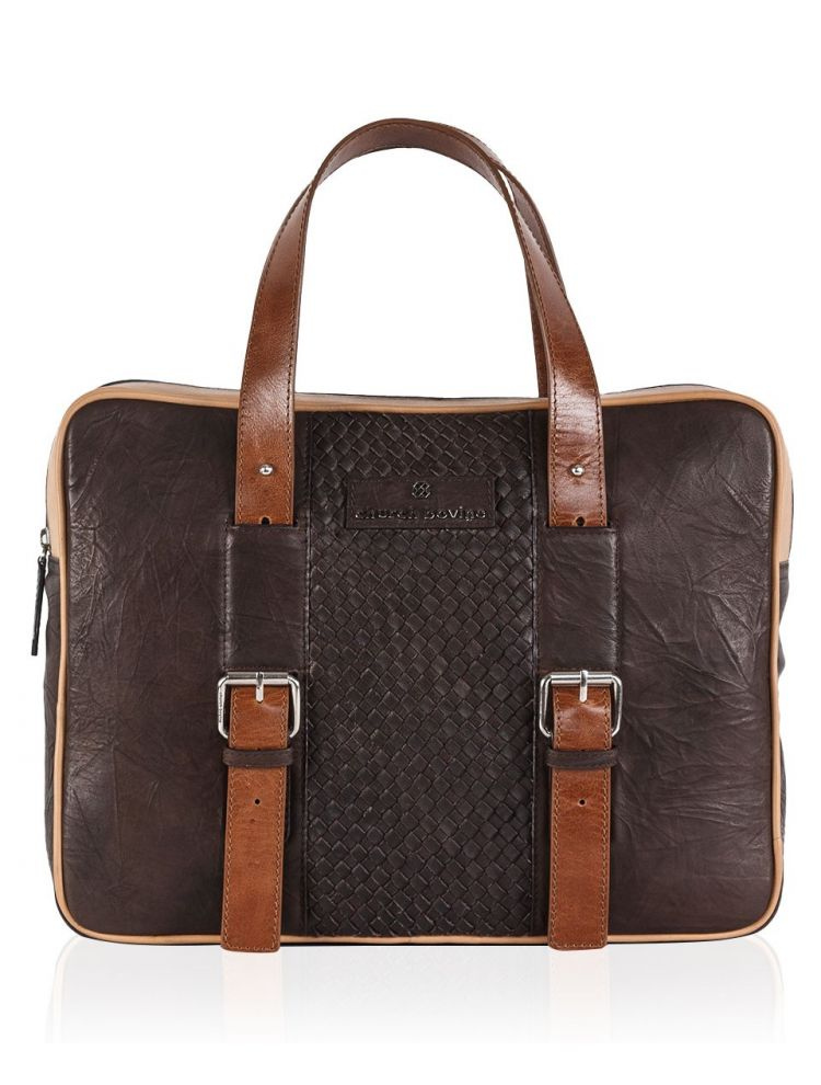 Crinckeled Brown Laptop Bag