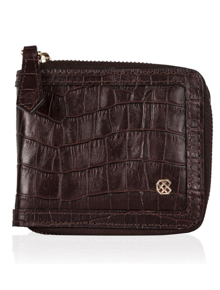 Croco Brown Zip Wallet