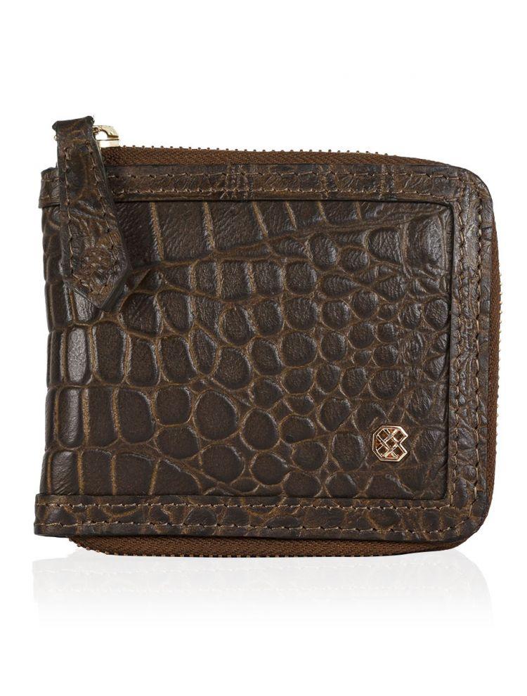 Croco Green Zip Wallet