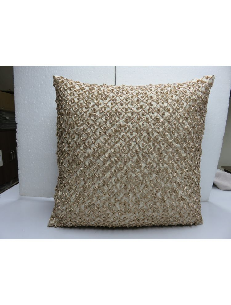 Golden Beaded Cushion Cover