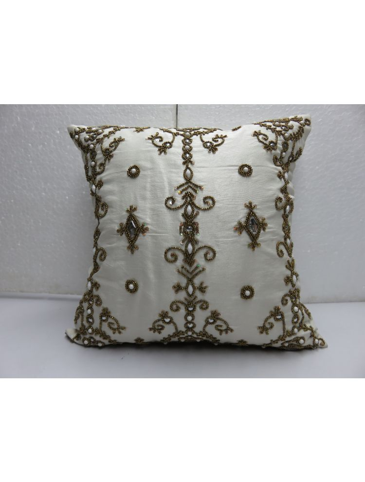 Gold & Clear Bead Cushion Cover