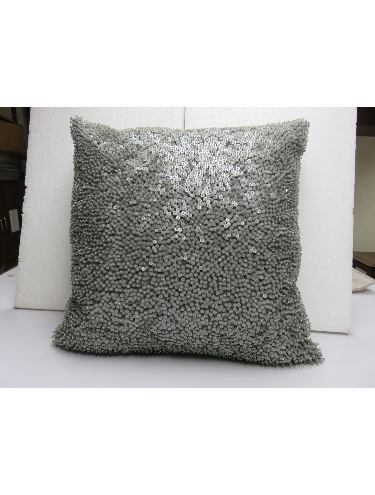 Grey Beaded Cushion Cover