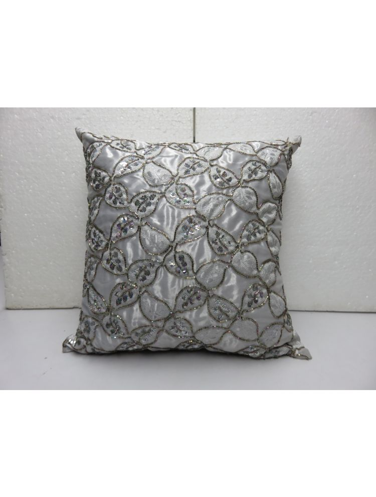Beaded Flower Poly Silk Cushion Cover