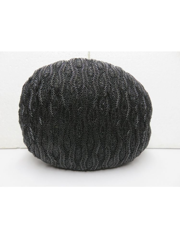 Black Round  Beaded Cushion Cover