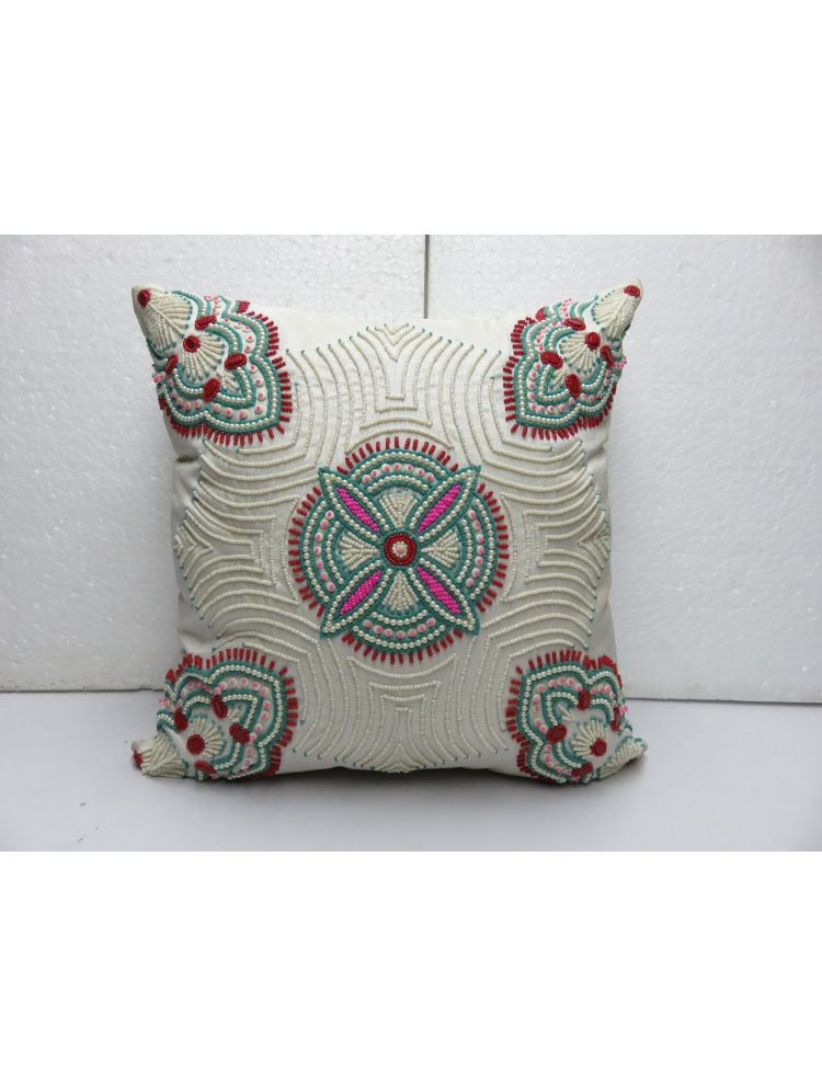 White Beaded Cushion cover