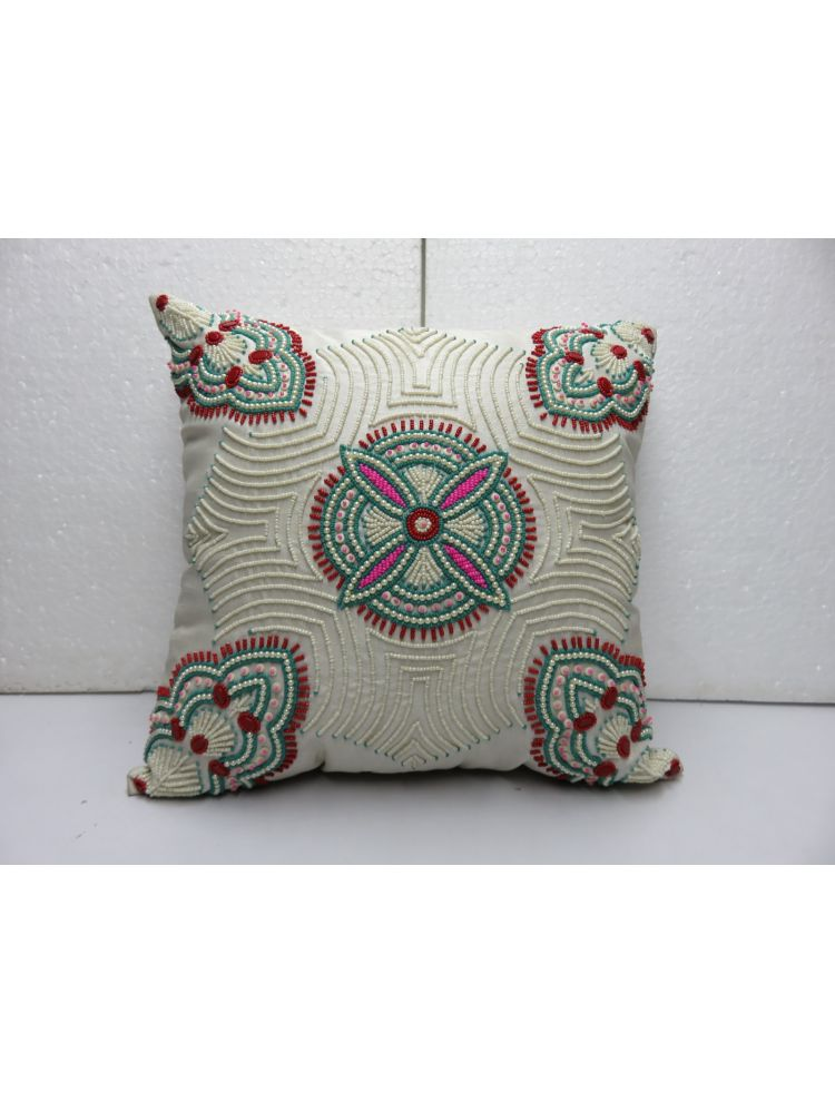 Centre Flower Beaded Cushion Cover