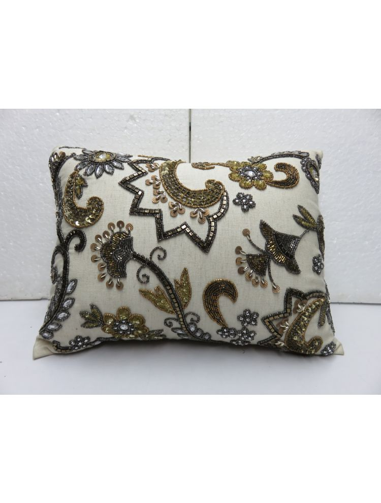 Grey & Golden Beaded cushion Cover
