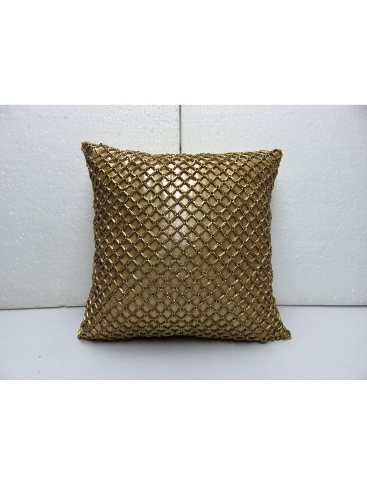 Yellow Beaded Golden Cushion Cover