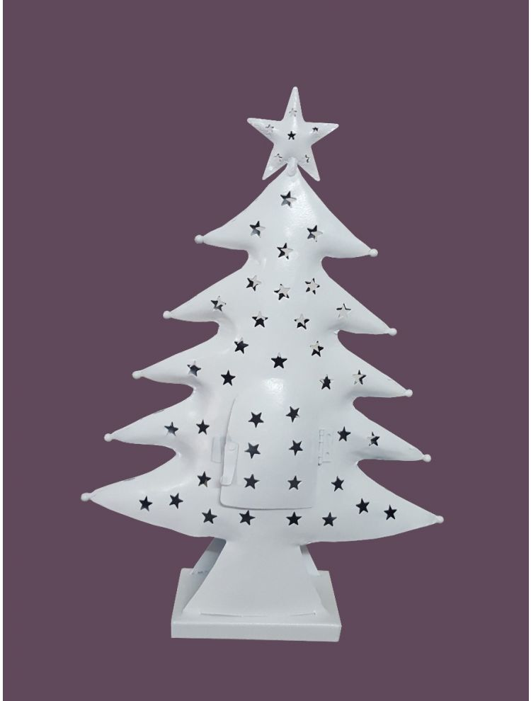 White Colored Decorative Christmas Tree Shape Candle Holder