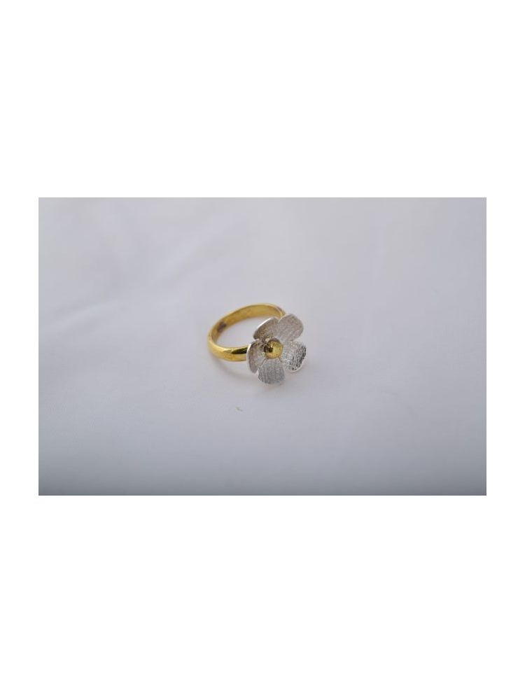 Brass Flower Silver Ring