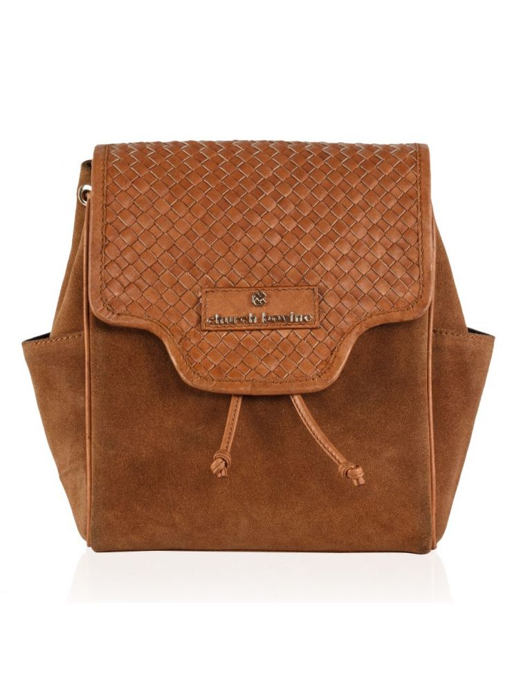 Tan Weaved Backpack Small