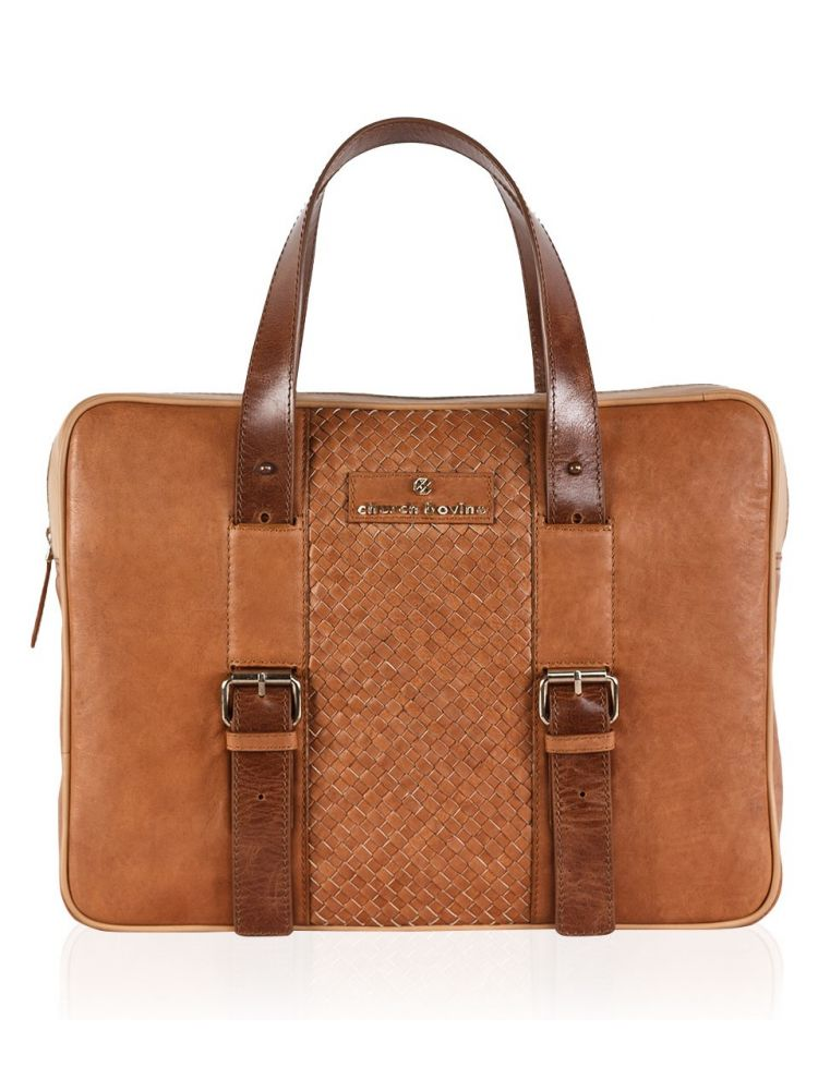 Tan Weaved Laptop Bag